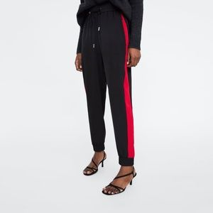 Zara Black Jogging Trousers With Red Side Stripe L